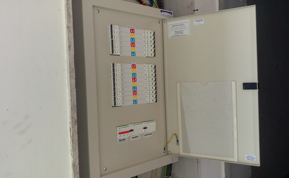 Electrical work- Installation of Distribution Board is in progress in individual apartments