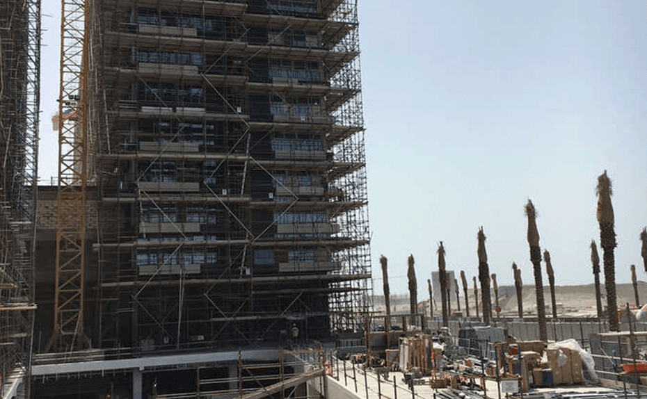 Marassi Residences - North tower end elevation and basement drop off area, April 2018