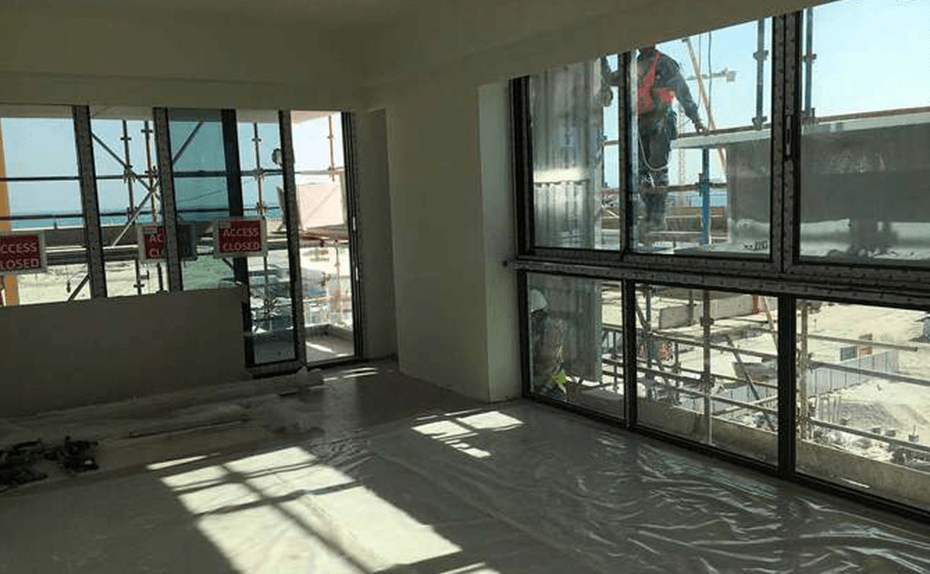 Internal glazing completed at mock up unit progress for Marassi Residences November 2017