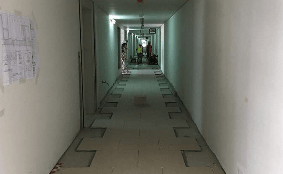 Marassi Residences - Tiling progress in internal corridors – Levels 1 to 3, February 2018