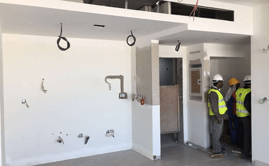 Marassi Residences – Ceilings and finishes in progress in side units, January 2018