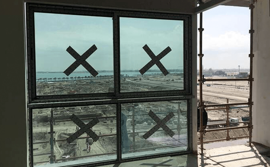Marassi Residences - Glazing façade progress from inside the residential units, February 2018