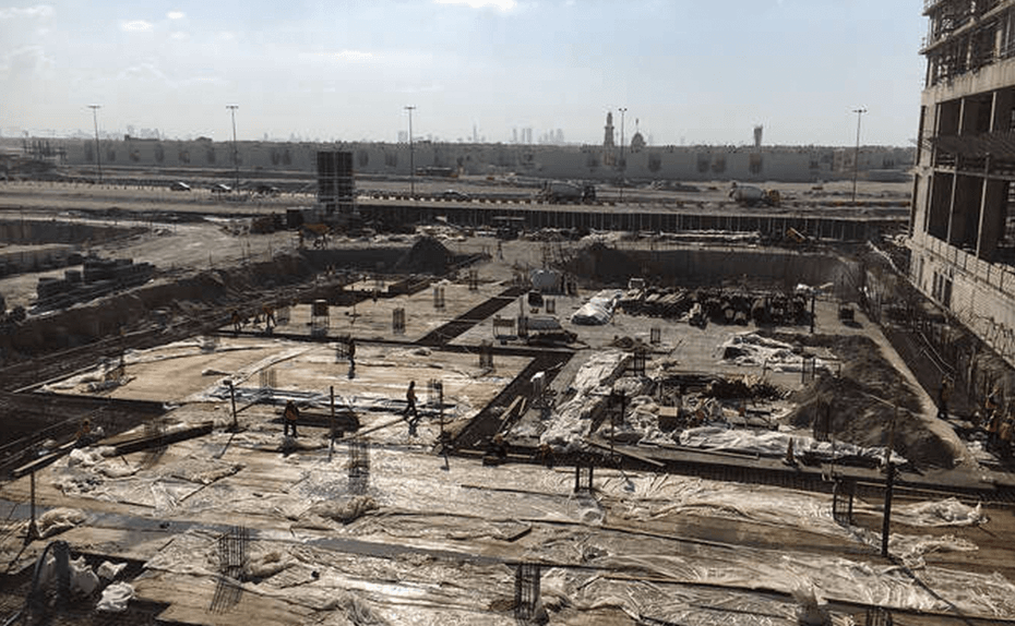 Basement raft slab in progress at Marassi Residence car park, December 2017
