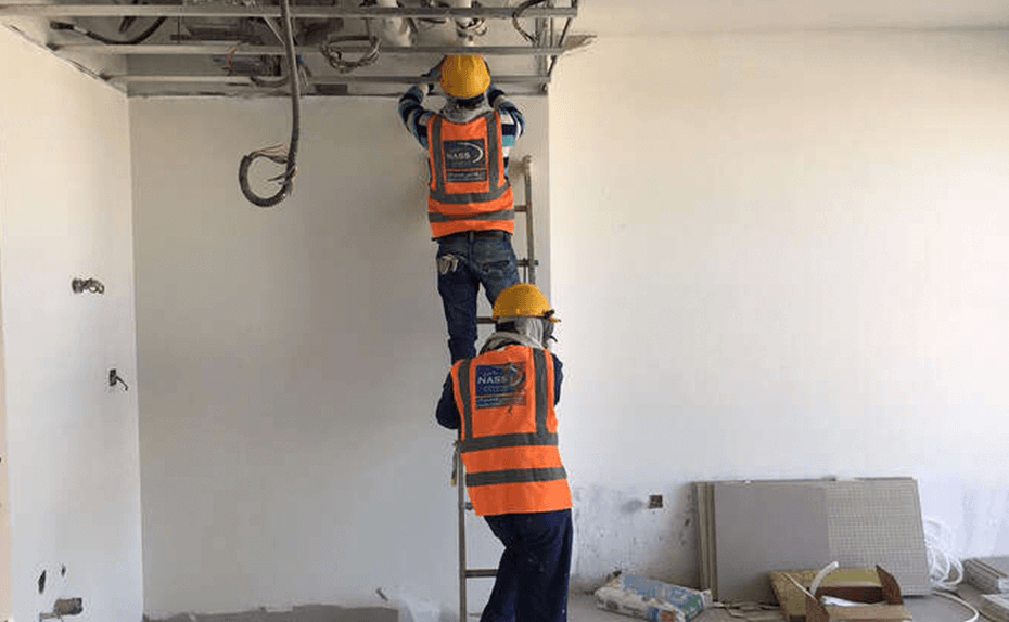 Ceiling grid installation at Marassi Residences – Level 1A, December 2017