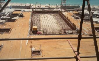 Swimming Pool deck and court yard at level 2 - Structure work completed, ready to receive finishes.