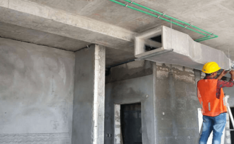 MARASSI BOULEVARD - HVAC duct installation works at building B in progress, July 2018