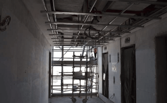 Marassi Residences - Lift lobby ceiling grids being installed, March 2018