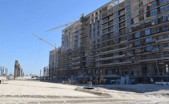 Works progress on road infrastructure and rear façade of Marassi Residences, March 2018