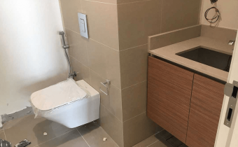 Bathroom installation progress at mock up unit for Marassi Residences November 2017