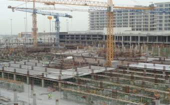 Ground floor precast slab and band beam in progress, April 2019