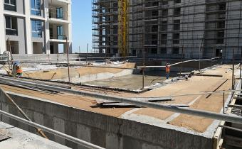 Swimming pool and deck concrete completed, April 2019